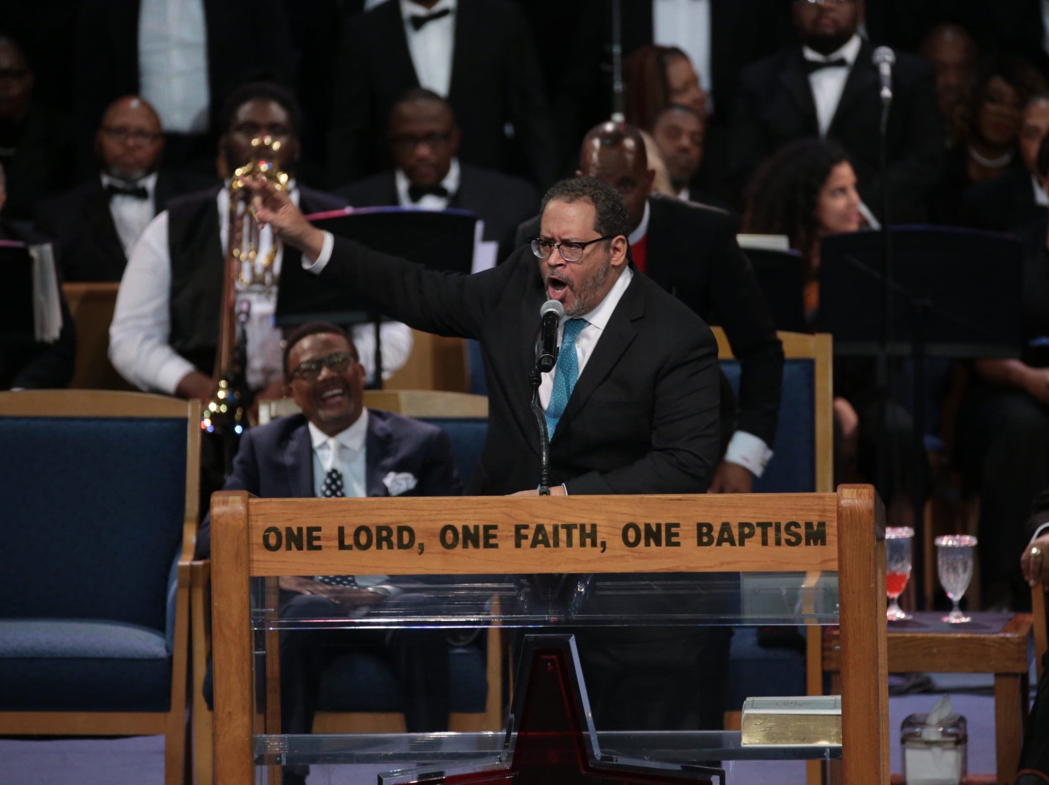 Michael  Eric  Dyson, professor of  sociology at Georgetown University, speaks during the funeral for the late Aretha Franklin at Greater Grace Temple in Detroit on Friday, August 31, 2018.