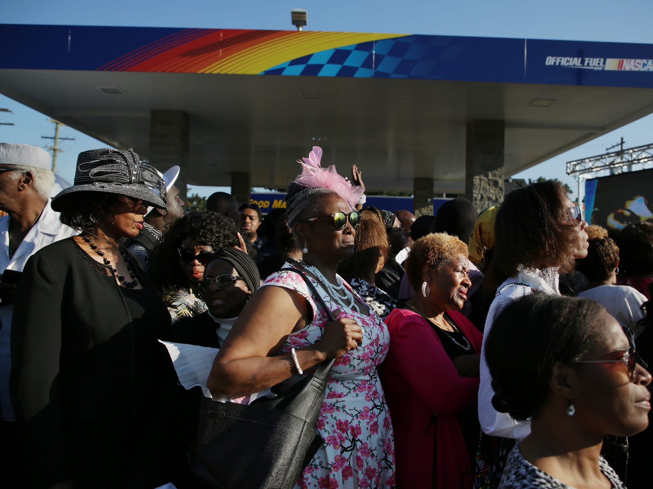 People wait in line for a chance to attend the funeral of Aretha Franklin at Greater Grace Temple on Friday, August 31, 2018.