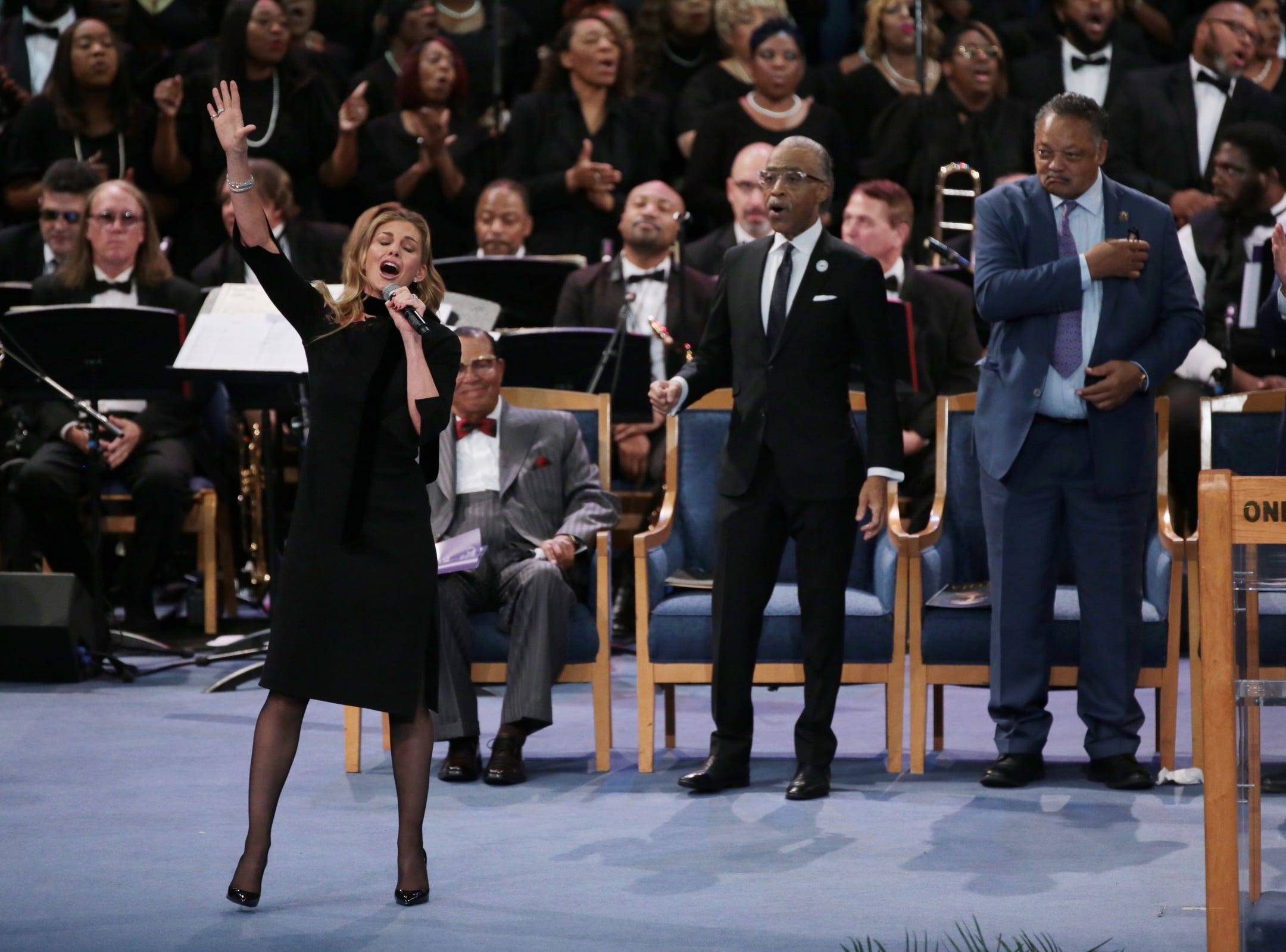 Singer Faith Hill performs during the funeral for the late Aretha Franklin at Greater Grace Temple in Detroit on Friday, August 31, 2018.