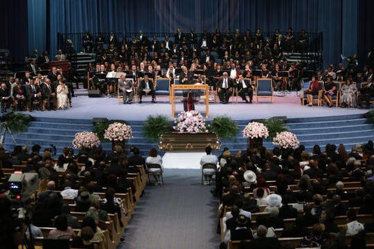 Rev. Jasper Williams, Jr., Pastor of Salem  Bible  Church in Atlanta gives the eulogy during the funeral for the late Aretha Franklin at Greater Grace Temple in Detroit on Friday, Aug. 31, 2018.
