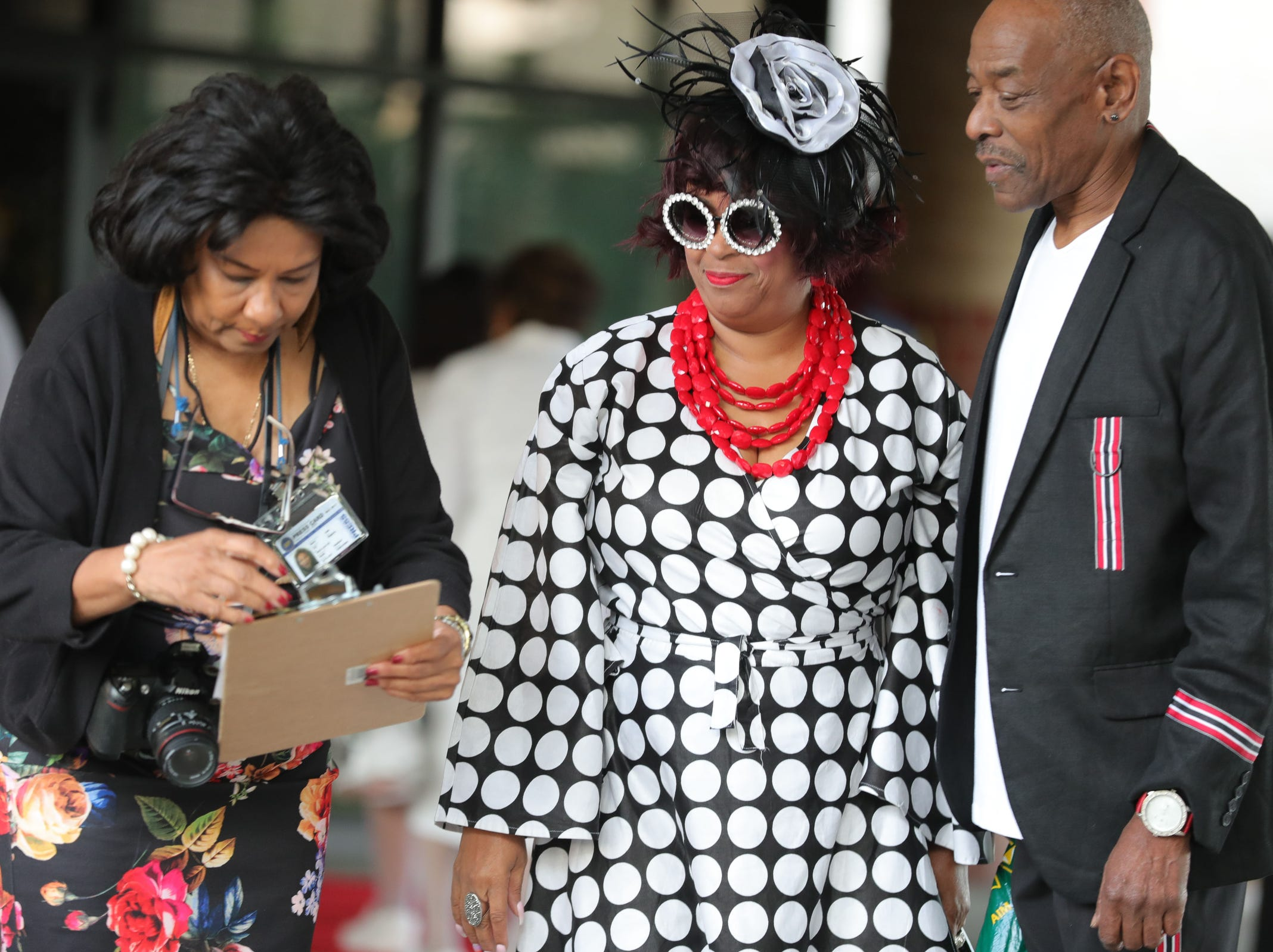 People arrive at Greater Grace Temple in Detroit to say their final goodbye to Aretha Franklin, Friday, August 31, 2018.  Kirthmond F. Dozier, Detroit Free Press