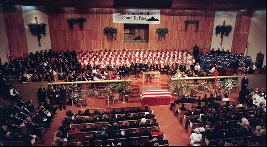 The funeral service for Mayor Coleman A. Young of Detroit draws a huge crowd to the Greater Grace Temple in Detroit, Friday, Dec. 5, 1997.