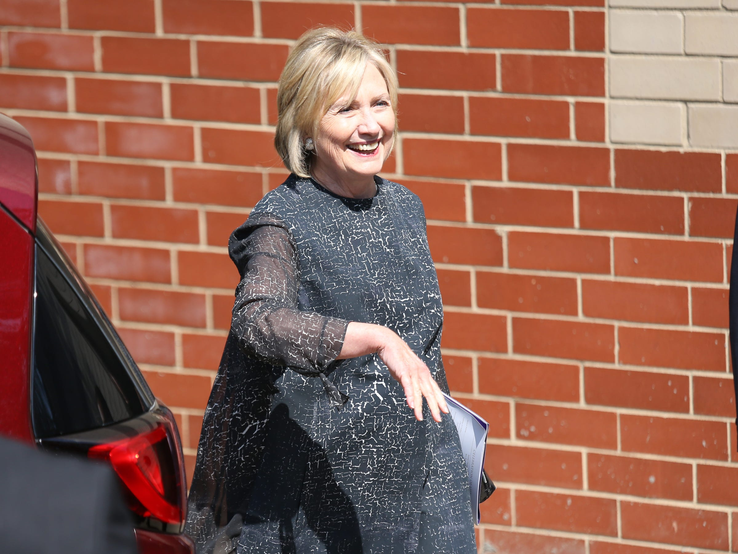 Hillary Clinton leaves Greater Grace Temple in Detroit after paying her final respects to Aretha Franklin, Friday, August 31, 2018.