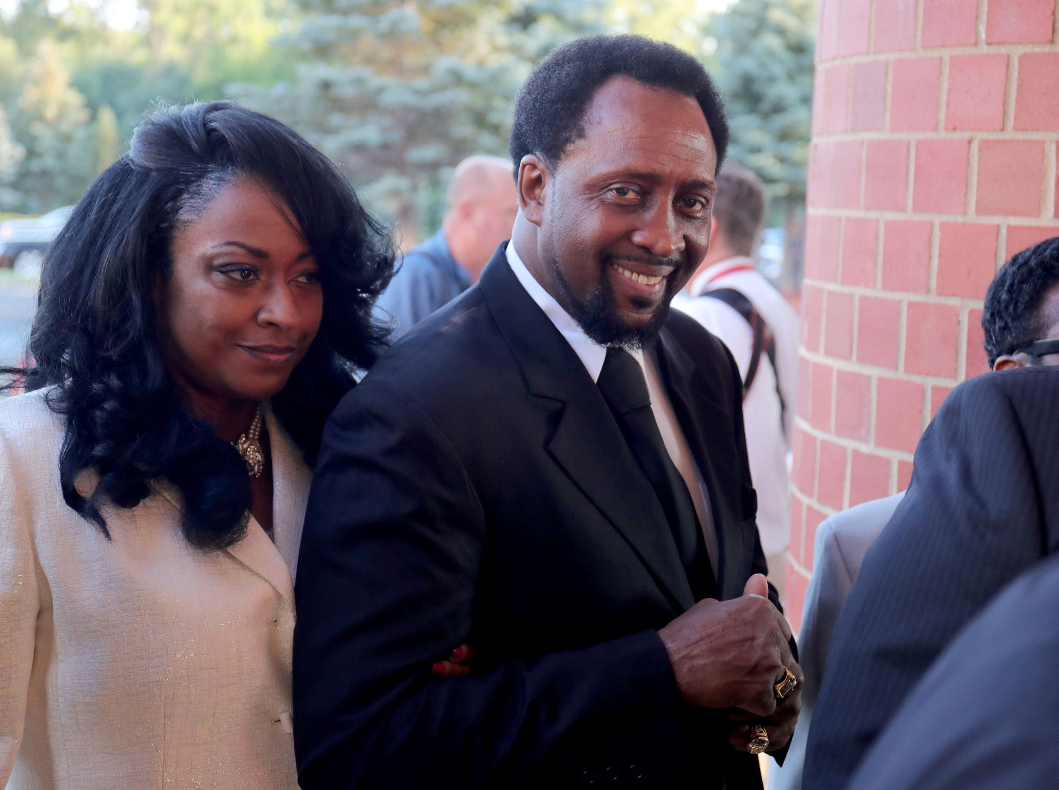 Former professional boxer Thomas Hearns arrives at  Greater Grace Temple in Detroit to pay final respect to Aretha Franklin, Friday, August 31, 2018.  Kirthmond F. Dozier, Detroit Free Press