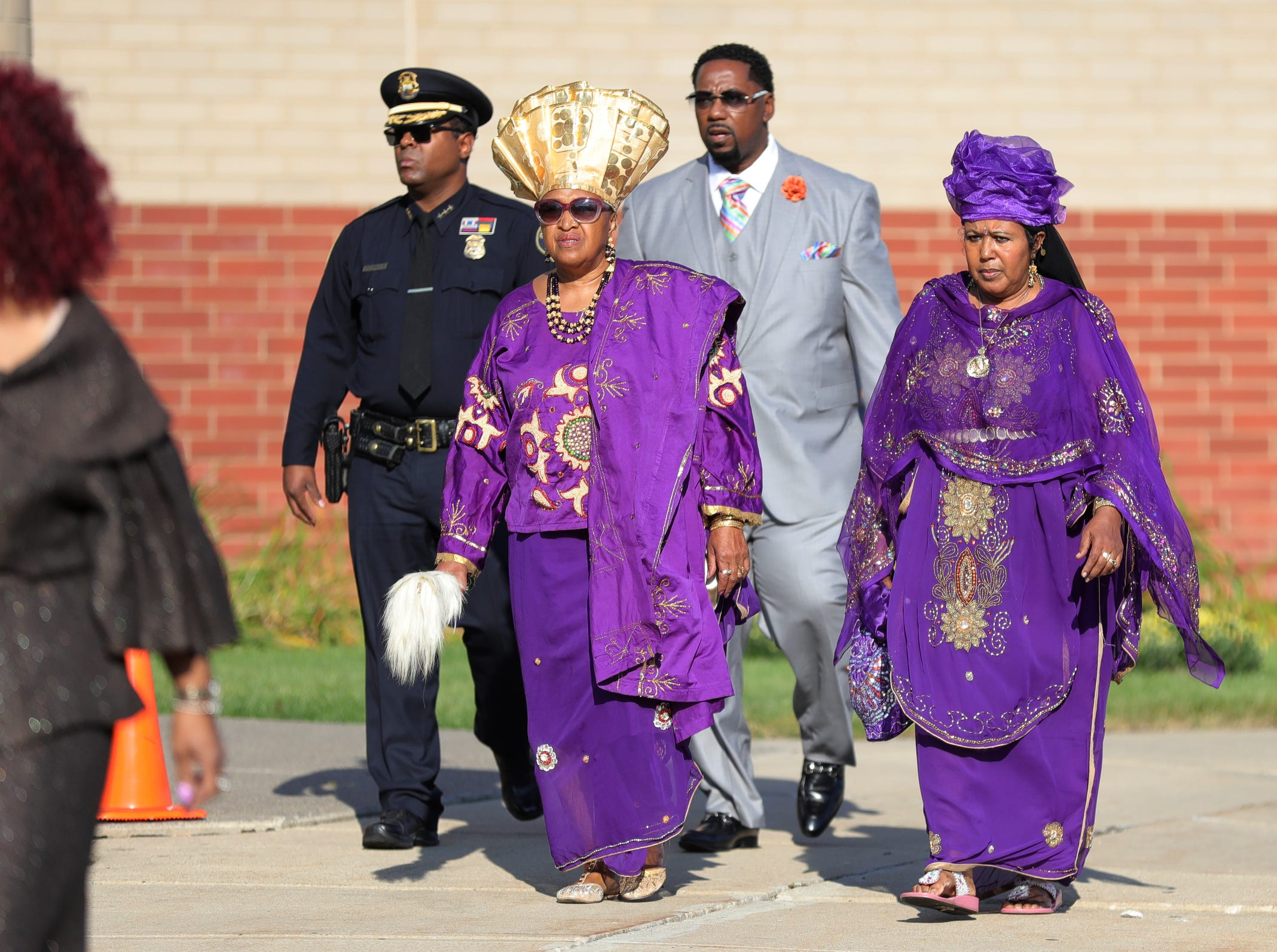Attendees arrive for Aretha Franklin's funeral at Greater Grace Temple in Detroit on Friday, August 31, 2018.