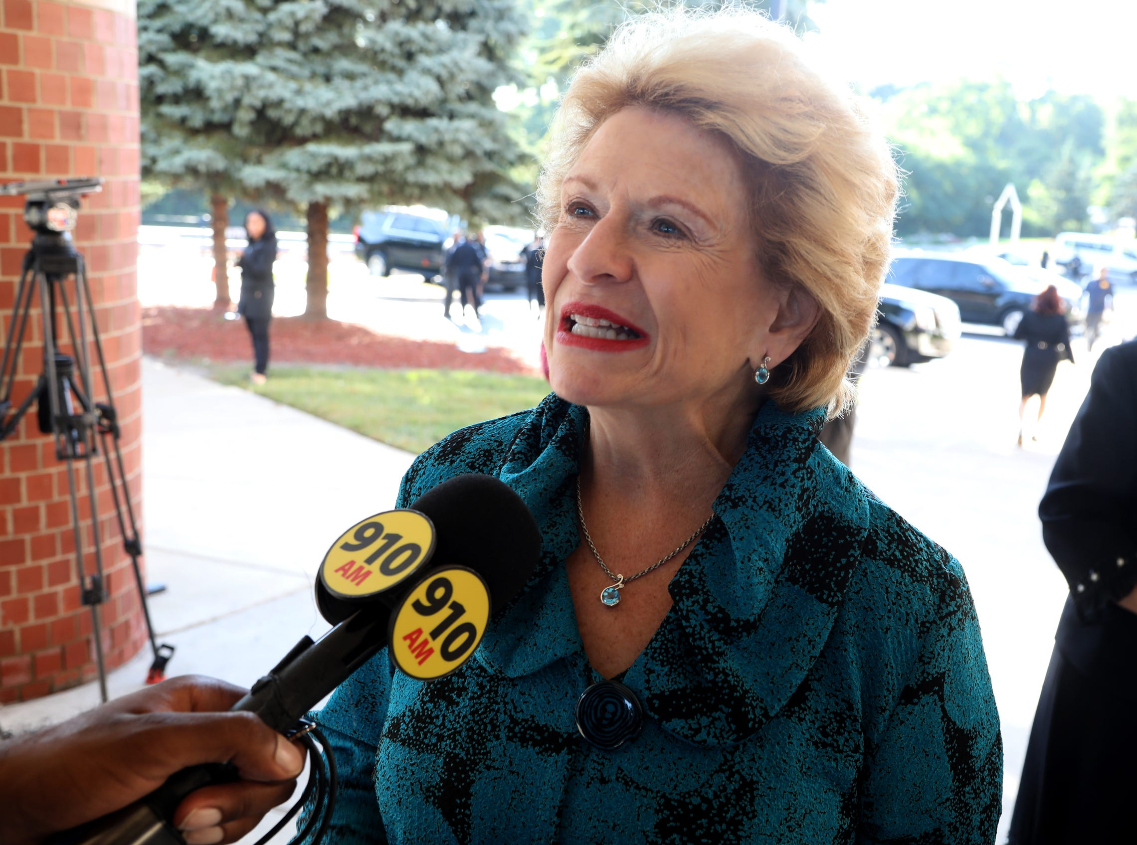 U.S. Senator Debbie Stabenow arrives at  Greater Grace Temple in Detroit to pay final respects to Aretha Franklin, Friday, August 31, 2018.