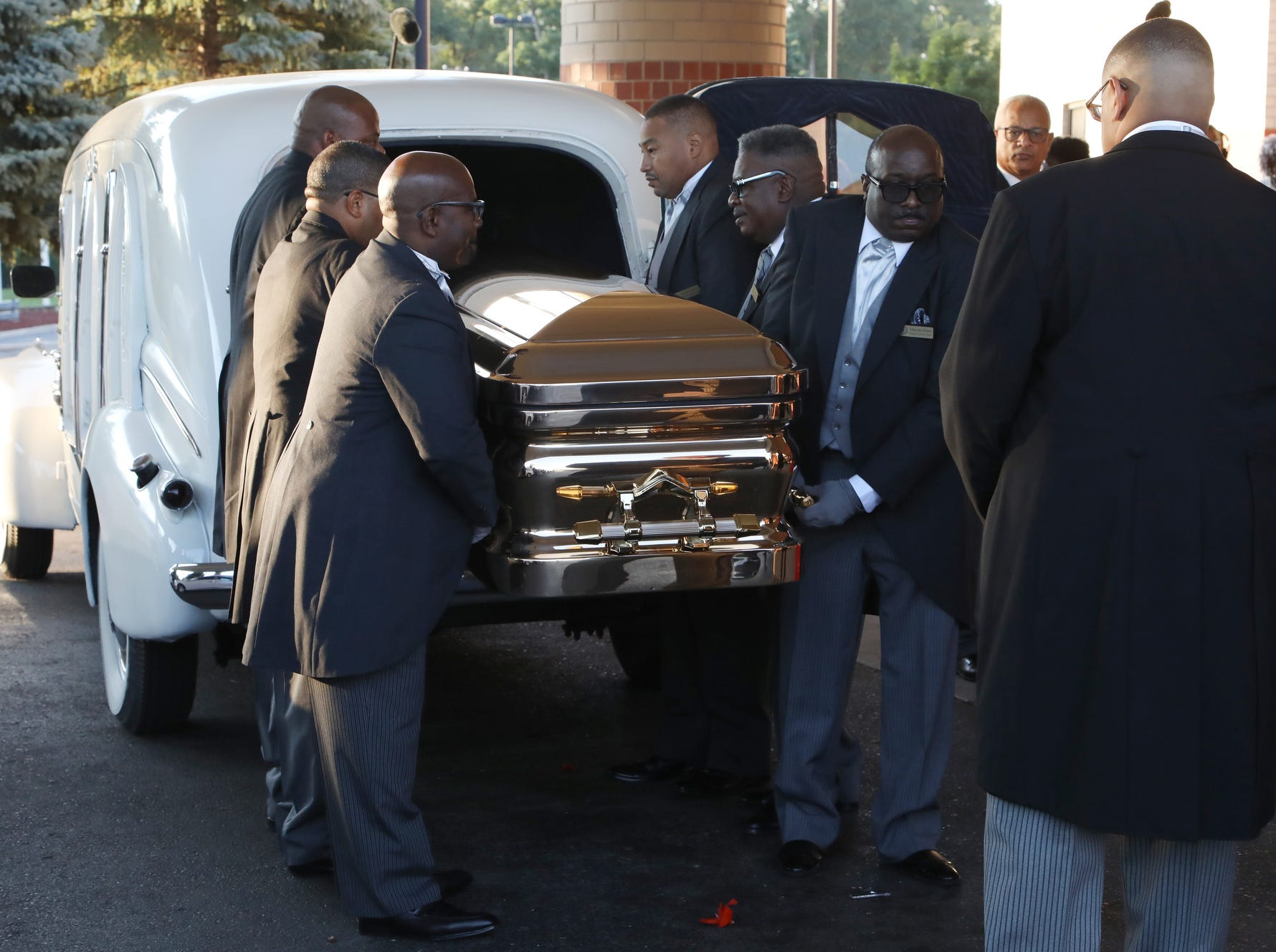 Aretha Franklin's casket arrives at Greater Grace Temple in Detroit ahead of her funeral on Friday, August 31, 2018.