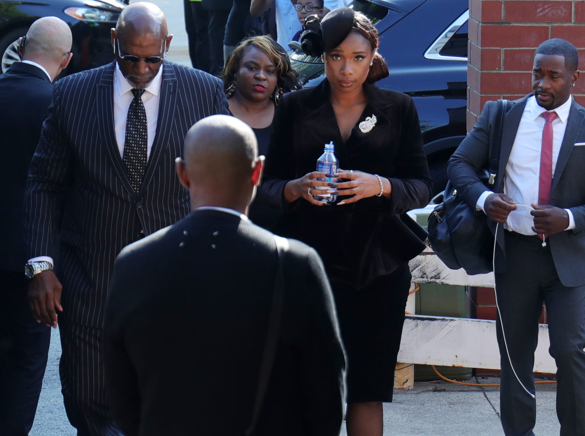 Jennifer Hudson arrives at a back entrance for Aretha Franklin's funeral at Greater Grace Temple in Detroit on Friday, August 31, 2018.