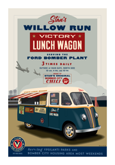 A vintage-style poster shows a made-up lunch truck at the WWII B-24 bomber plant in Willow Run.