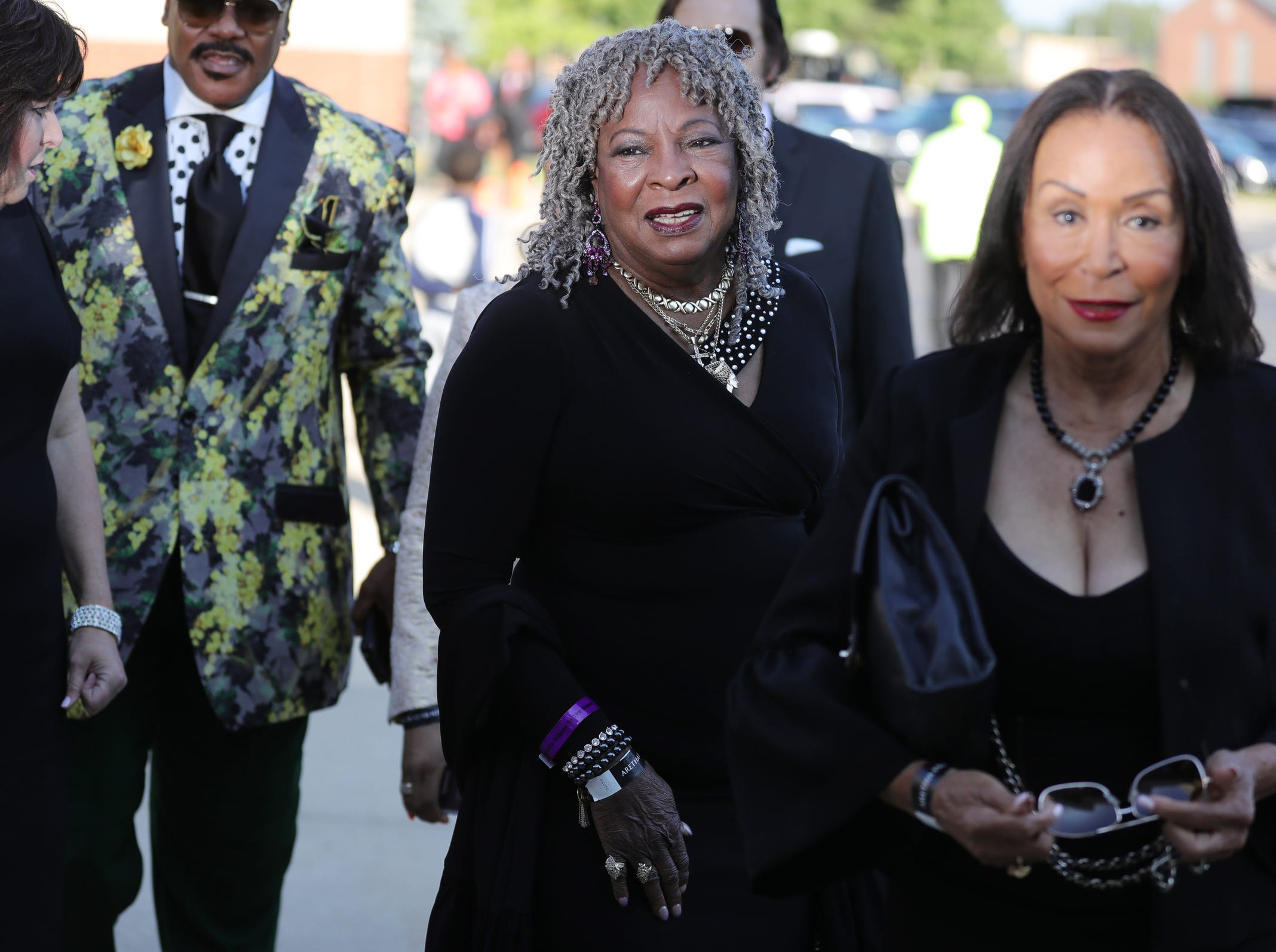 Martha Reeves smiles as she arrives for Aretha Franklin's funeral at Greater Grace Temple in Detroit on Friday, August 31, 2018.