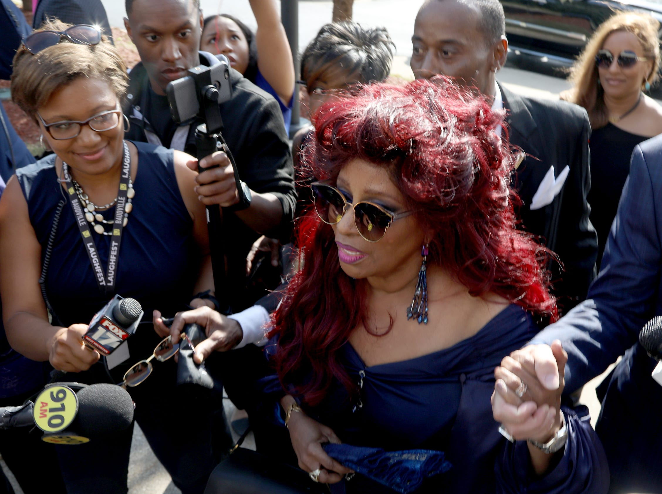 Chaka Khan arrives at  Greater Grace Temple in Detroit to pay final respects to Aretha Franklin, Friday, August 31, 2018.  Eric Seals, Detroit Free Press