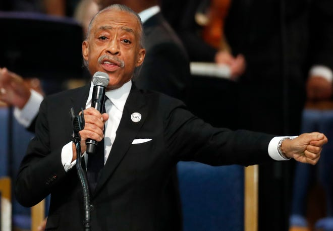 Rev. Al Sharpton speaks during the funeral service for Aretha Franklin at Greater Grace Temple, Friday, Aug. 31, 2018, in Detroit. Franklin died Aug. 16, 2018 of pancreatic cancer at the age of 76.