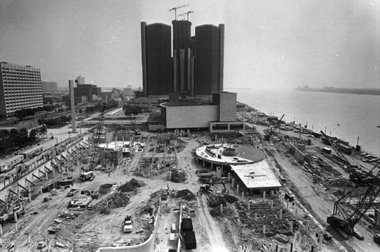 In June 1976, the construction of the Renaissance Center and Hart Plaza in downtown Detroit.