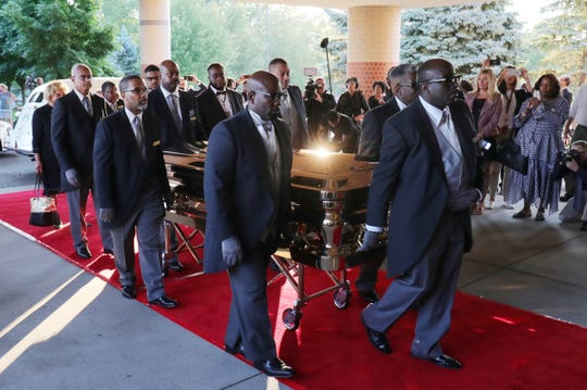 Aretha Franklin's casket arrives at Greater Grace Temple ahead of her funeral on Friday, August 31, 2018. Franklin died Aug. 16, 2018 of pancreatic cancer at the age of 76.