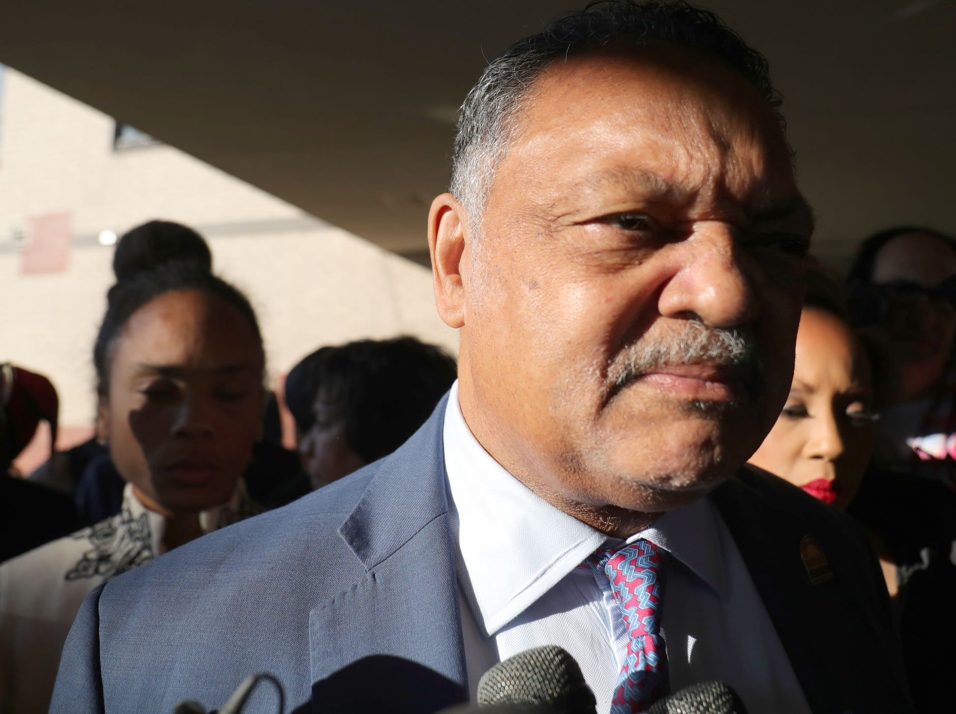 Rev. Jesse Jackson arrives at  Greater Grace Temple in Detroit to pay his final respect to Aretha Franklin, Friday, August 31, 2018.