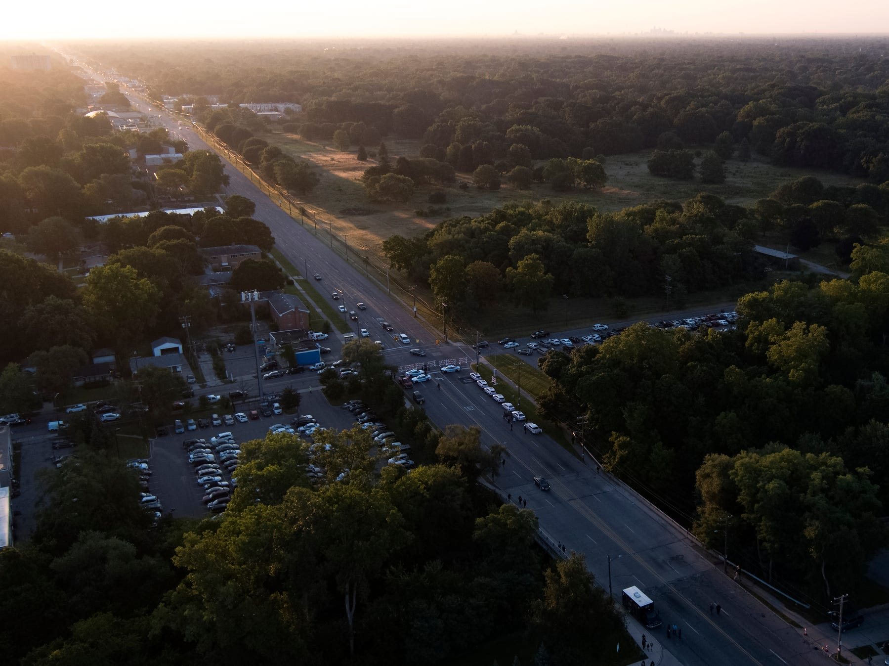 The sun rises over the city before the funeral of Aretha Franklin outside the Greater Grace Temple in Detroit on Friday, Aug. 31, 2018.