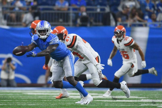 Detroit Lions receiver Brandon Powell is unable to complete a pass during the game against the Cleveland Browns  at Ford Field on Aug. 30, 2018 in Detroit.