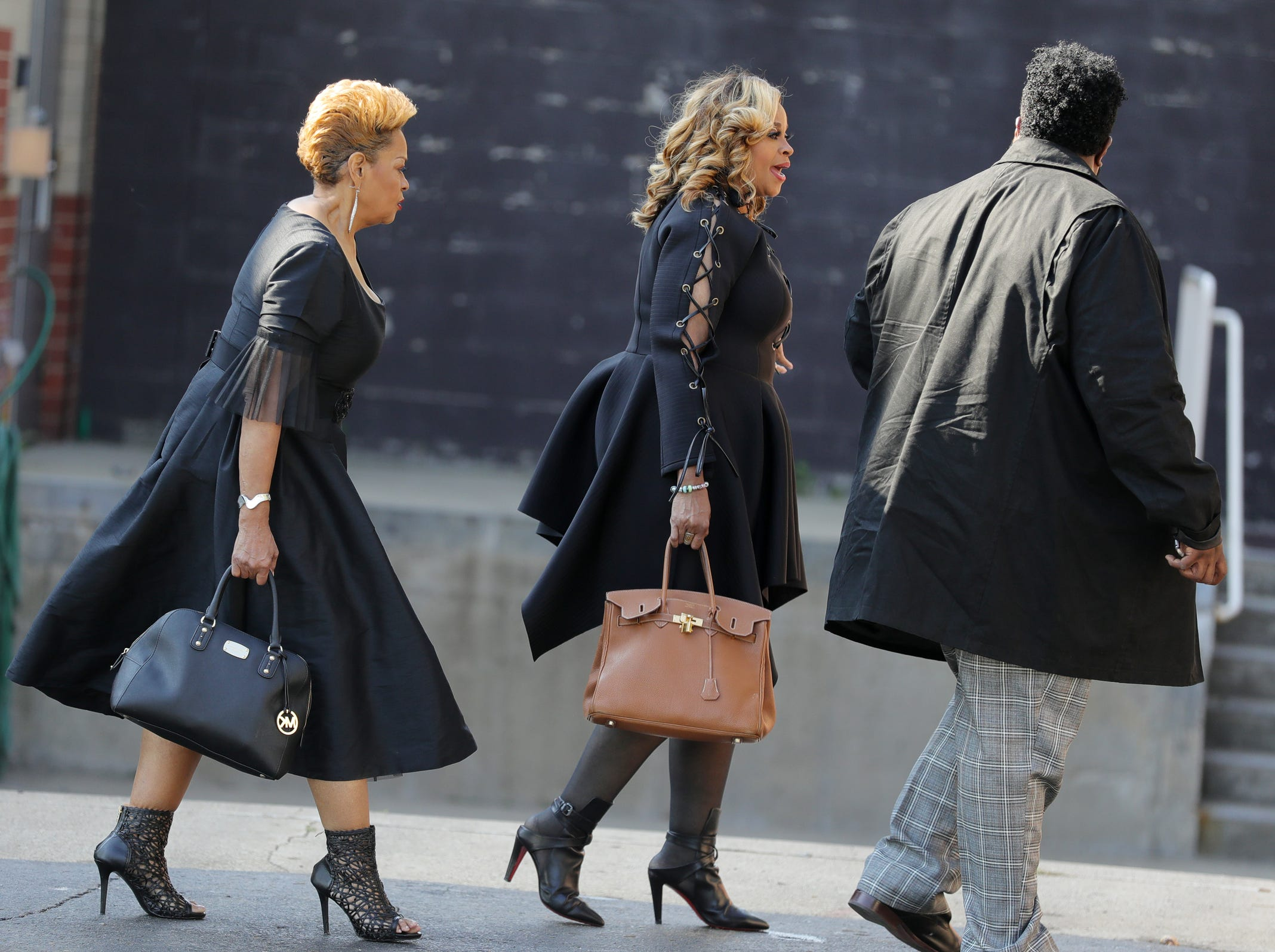Members of the Clark Sisters arrive for Aretha Franklin's funeral at Greater Grace Temple in Detroit on Friday, August 31, 2018.