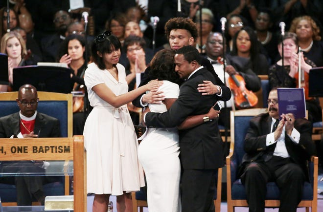 Grandchildren and family of the late Aretha Franklin speak during the funeral for the late Aretha Franklin at Greater Grace Temple in Detroit on Friday, August 31, 2018.
