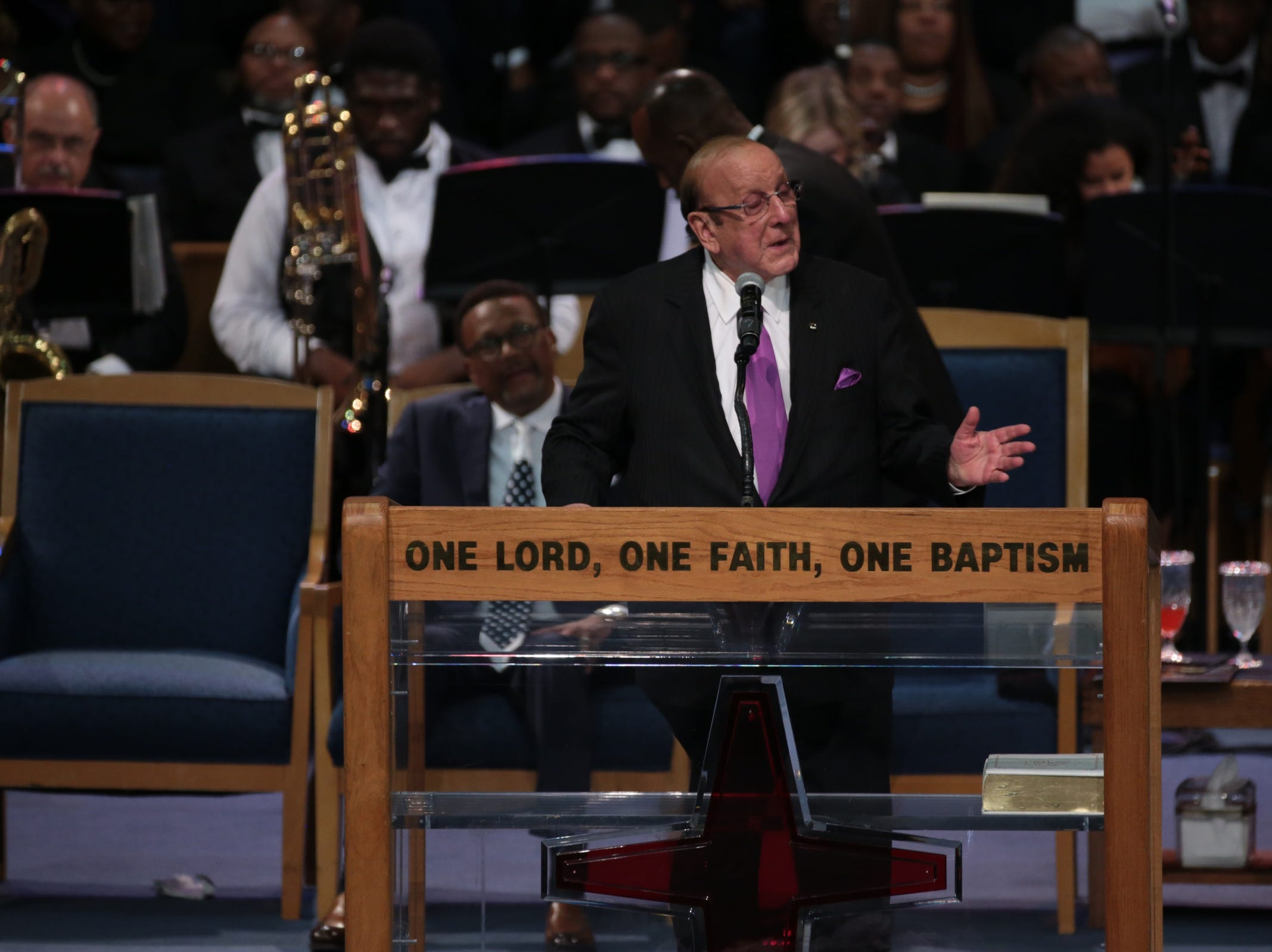 Clive Davis speaks during the funeral for the late Aretha Franklin at Greater Grace Temple in Detroit on Friday, August 31, 2018.