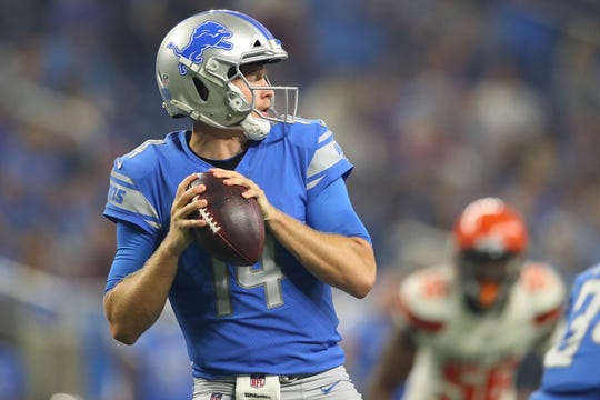 Detroit Lions QB Jake Rudock throws a first-quarter pass while playing the Cleveland Browns during a preseason game at Ford Field on Aug. 30, 2018 in Detroit.