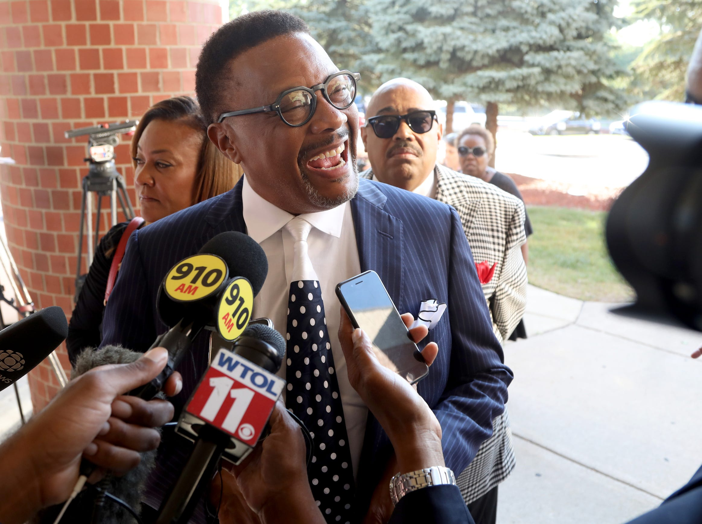Judge Greg Mathis arrives at  Greater Grace Temple in Detroit to pay final respects to Aretha Franklin, Friday, August 31, 2018.