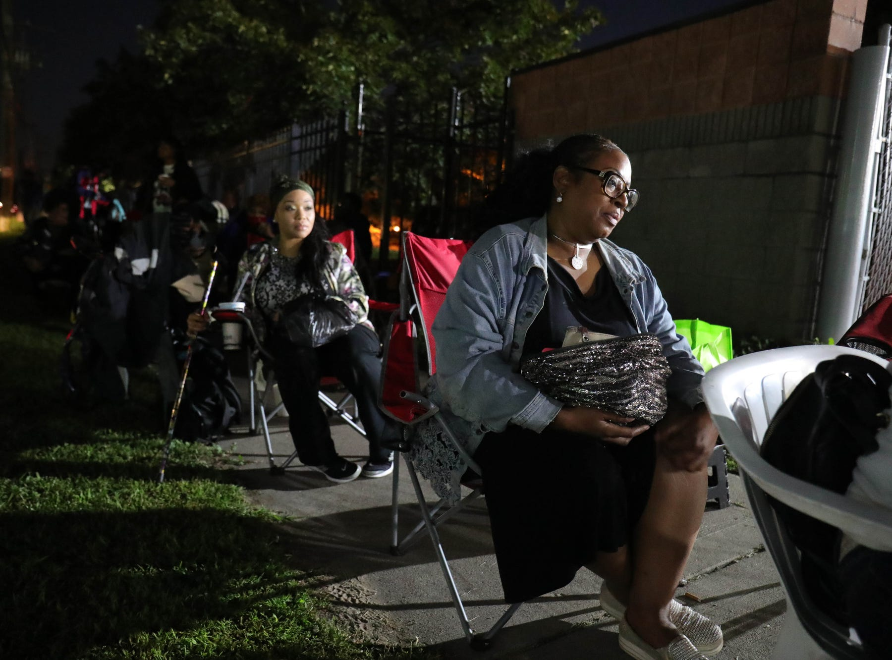 Fans wait in line to attend the funeral of Aretha Frnklin at Greater Grace Temple  in Detroit Mich. Friday, August 31, 2018.