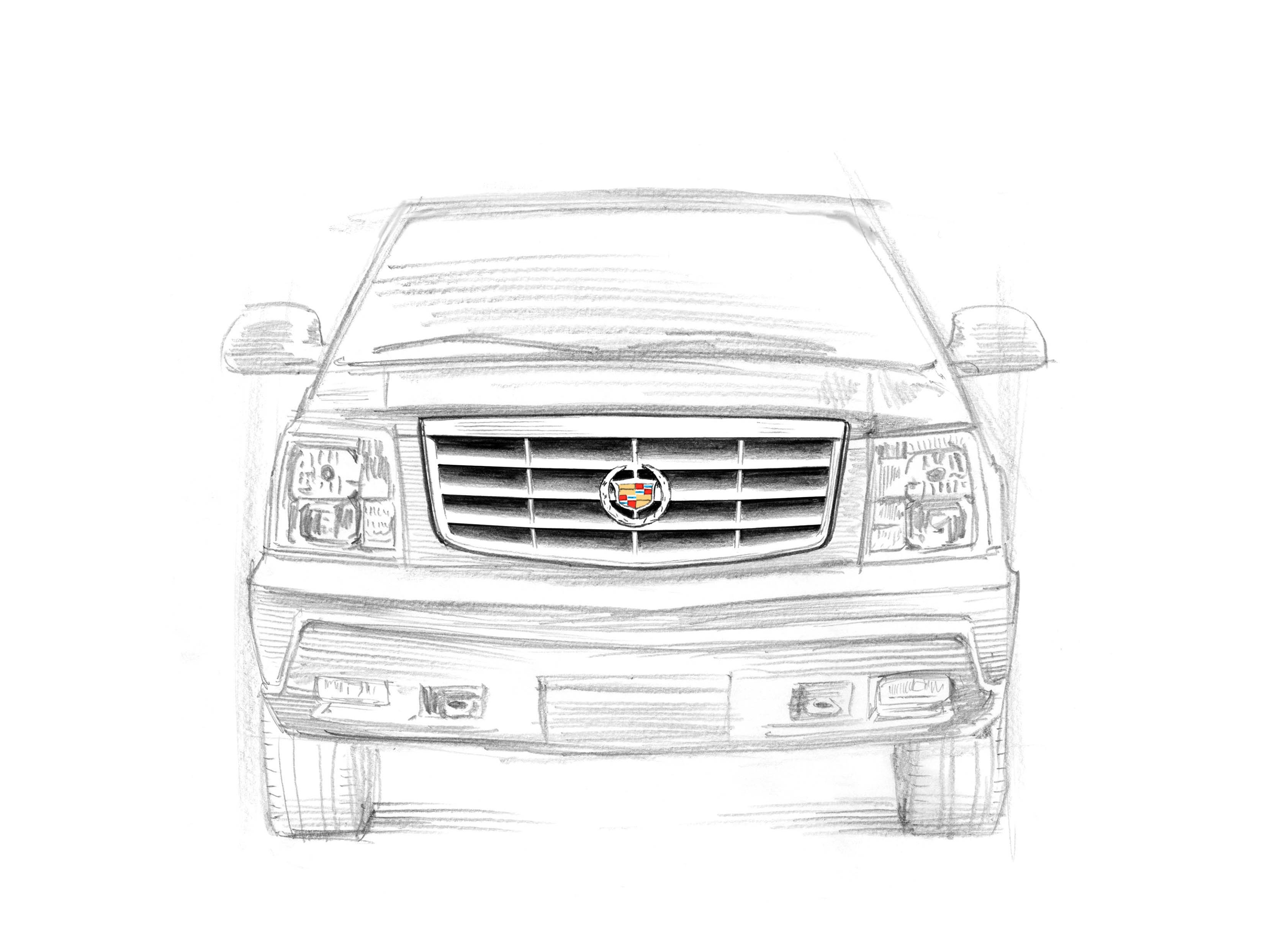 Cadillac Escalade Gen 2, 2002-2006: The Escalade became a must-have accessory for athletes and musicians, its deluxe looks inspiring numerous song lyrics. 20th anniversary Escalade sketch drawn by award-winning illustrator Joe McKendry.
