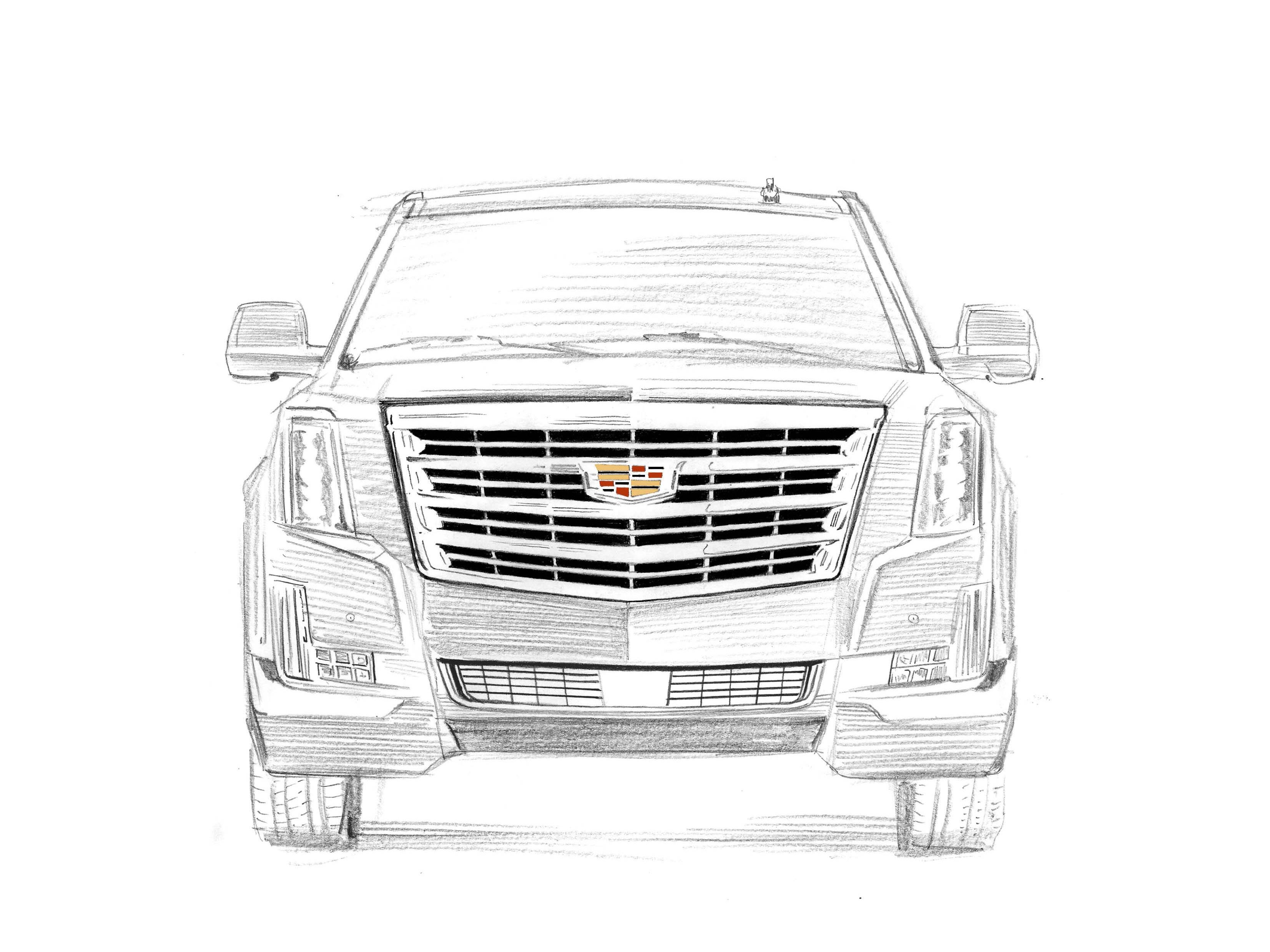 Cadillac Escalade Gen 4, 2015-today: The state-of-the-art Escalade is a rolling condo with plush, multi-way leather seats, 4G WiFi connectivity, magnetic shocks, and powerful, sub-6 second, 0-60 acceleration from its 6.2-liter V-8. 20th anniversary Escalade sketch drawn by award-winning illustrator Joe McKendry.