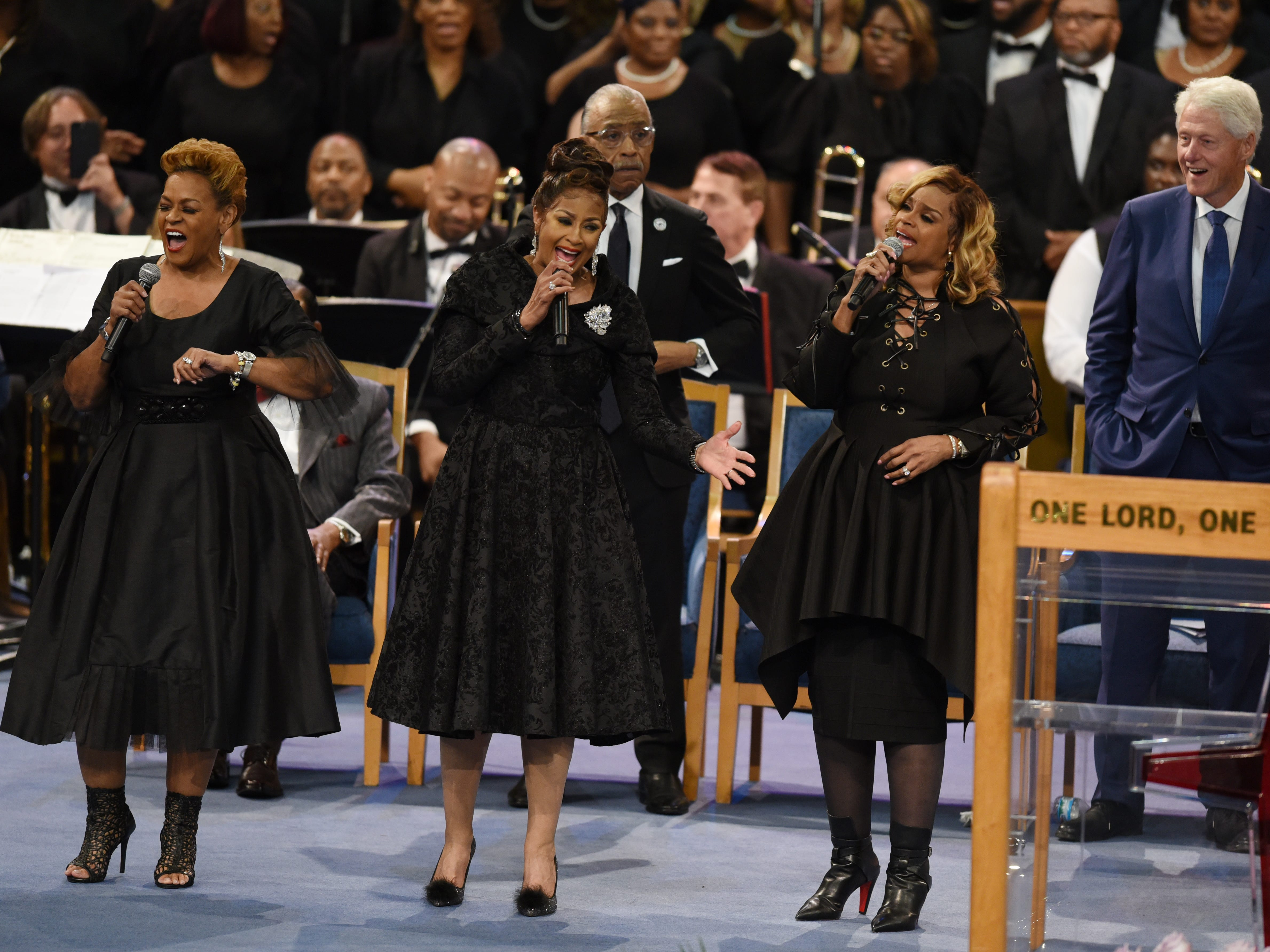 The Clark Sister perform at Aretha Franklin's memorial service.