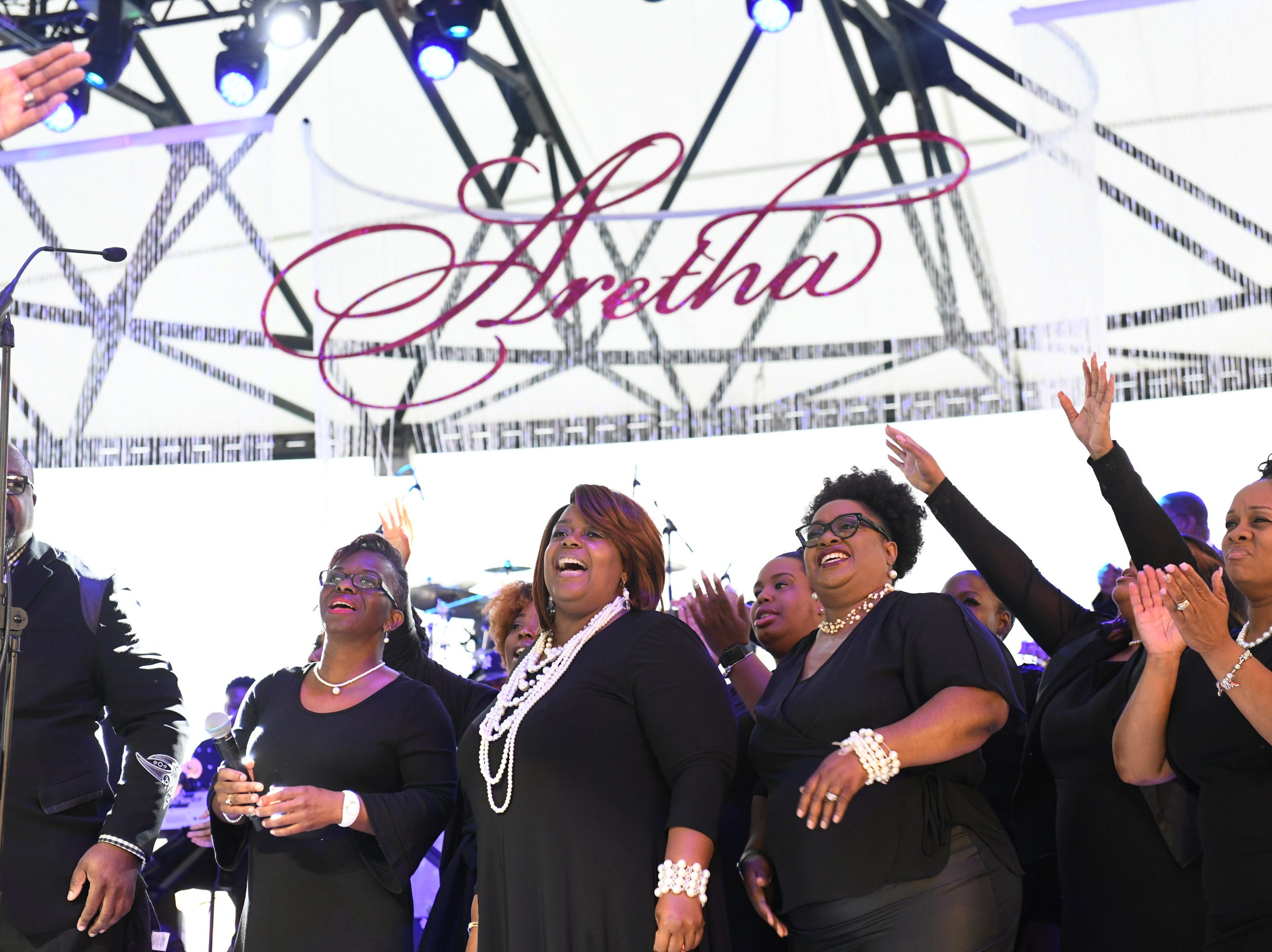 The New Bethel Baptist Church 25 Voice Choir performs on stage during The Aretha Franklin Tribute Concert.