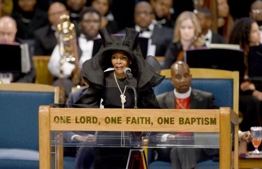 Actress Cicely Tyson reads a poem during the memorial service.