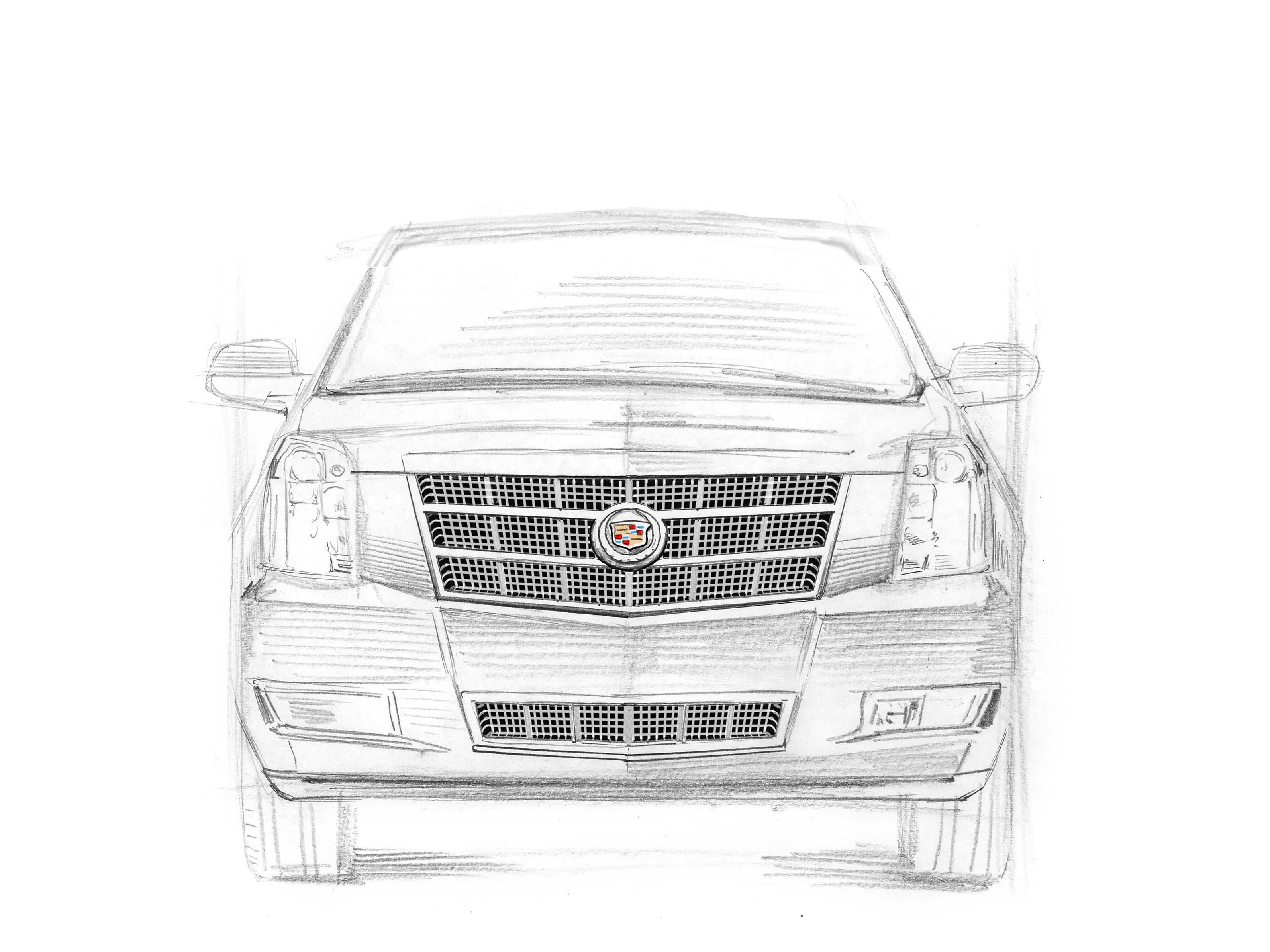 Cadillac Escalade Gen 3, 2007-2014: Beyond its iconic styling, the Escalade pioneered tech like smooth-riding magnetic shocks in the large SUV segment. 20th anniversary Escalade sketch drawn by award-winning illustrator Joe McKendry.