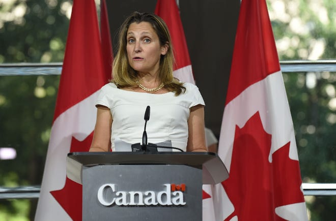 Canadian Foreign Minister Chrystia Freeland speaks at a press conference August 31, 2018 at the Embassy of Canada in Washington, D.C.