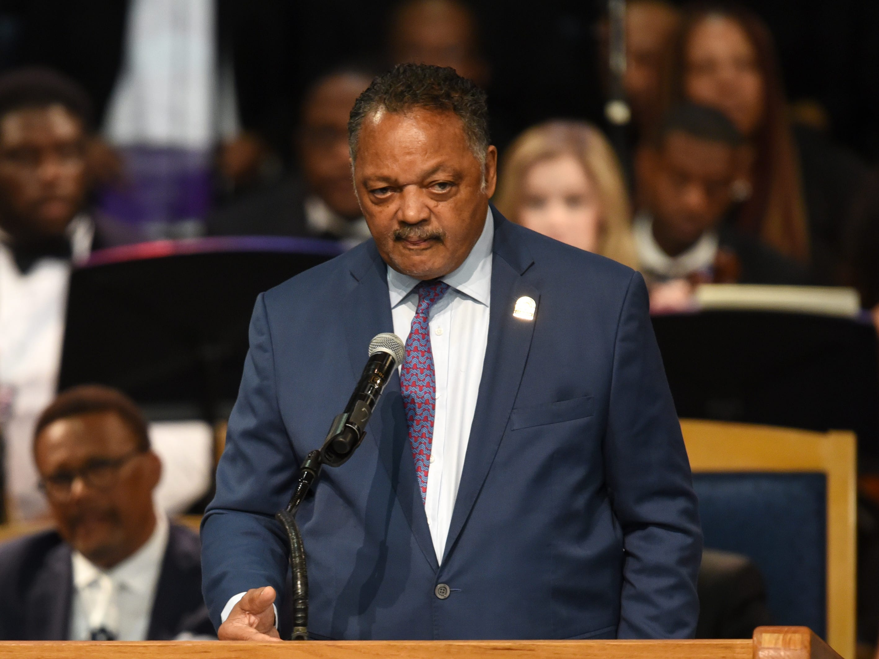Rev. Jesse Jackson delivers his remarks during Aretha Franklin's memorial service.