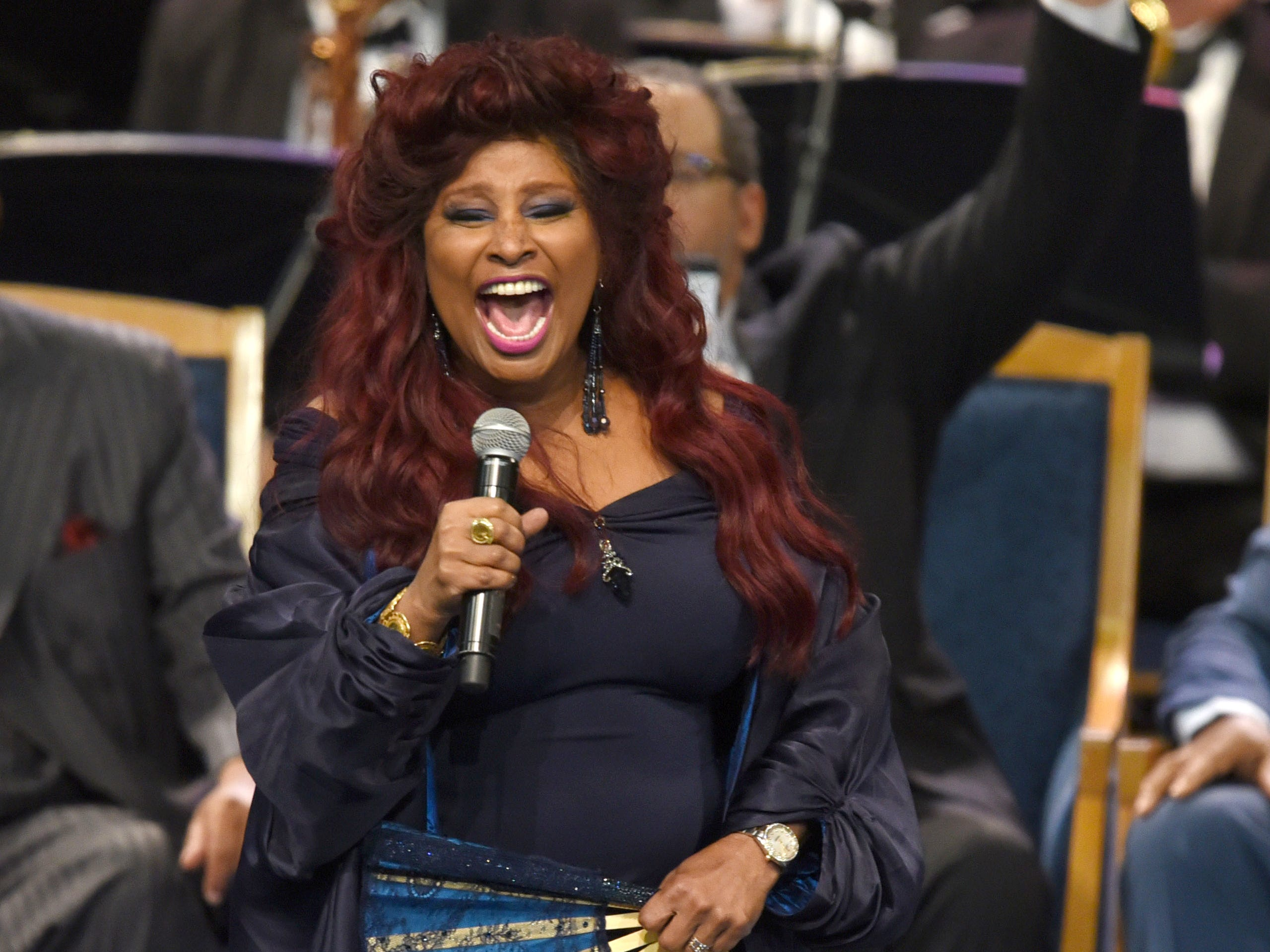 Chaka Khan  performs in tribute to Aretha Franklin at her memorial service in Detroit.