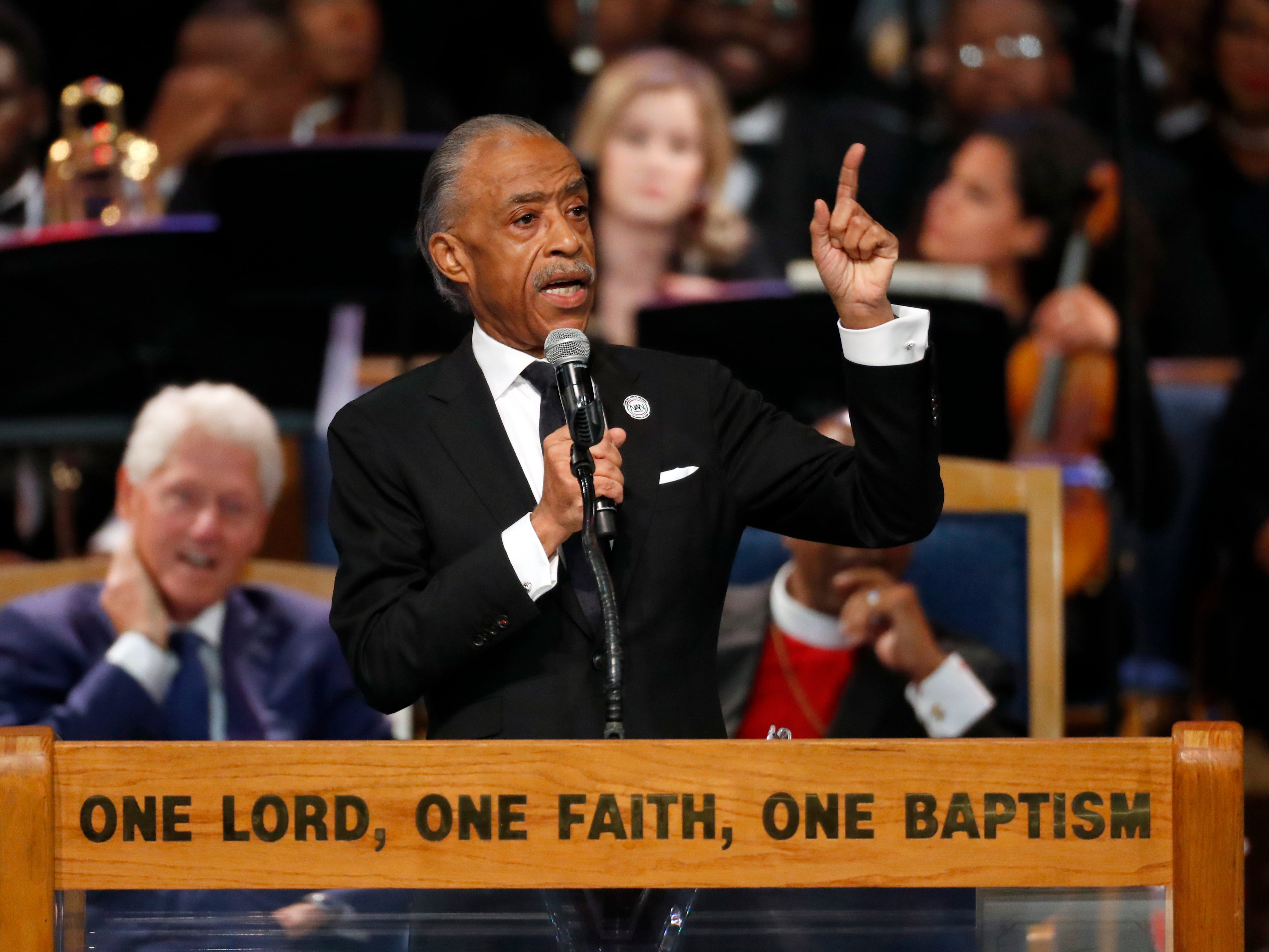 Rev. Al Sharpton speaks during the funeral service for Aretha Franklin at Greater Grace Temple