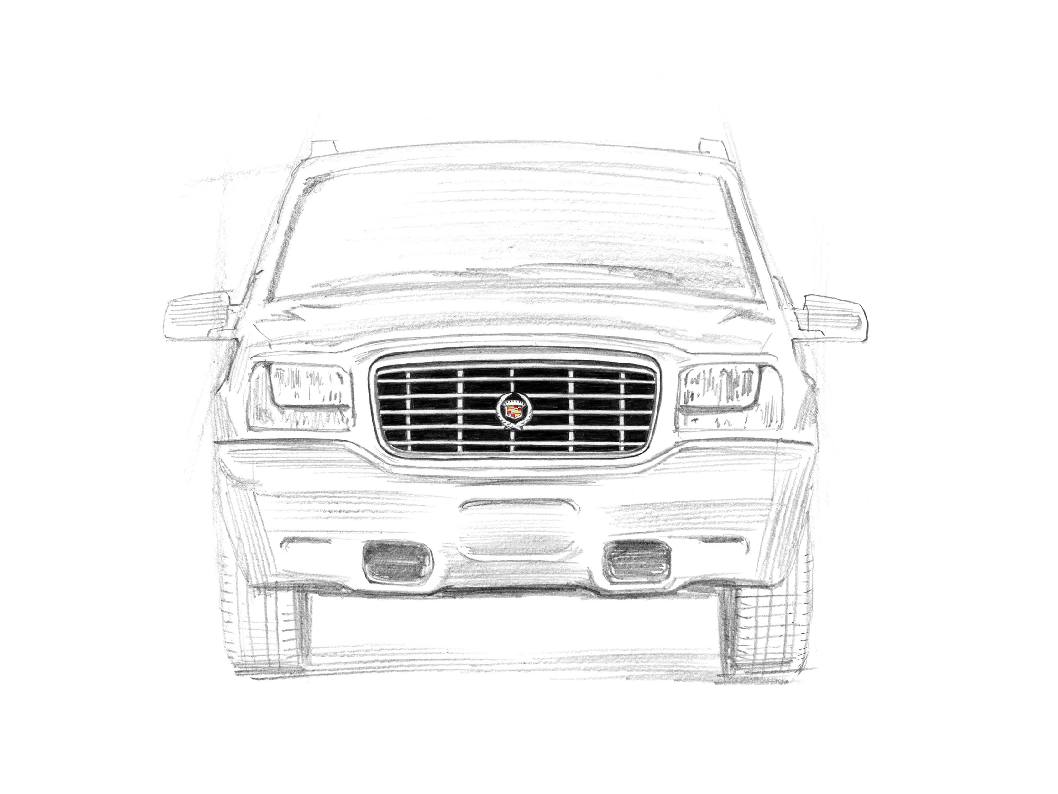 Cadillac Escalade Gen 1, 1999-2000 sketch: The Escalade debuted at Pebble Beach Concourse to do battle with the Lincoln Navigator. 20th anniversary Escalade sketch drawn by award-winning illustrator Joe McKendry.