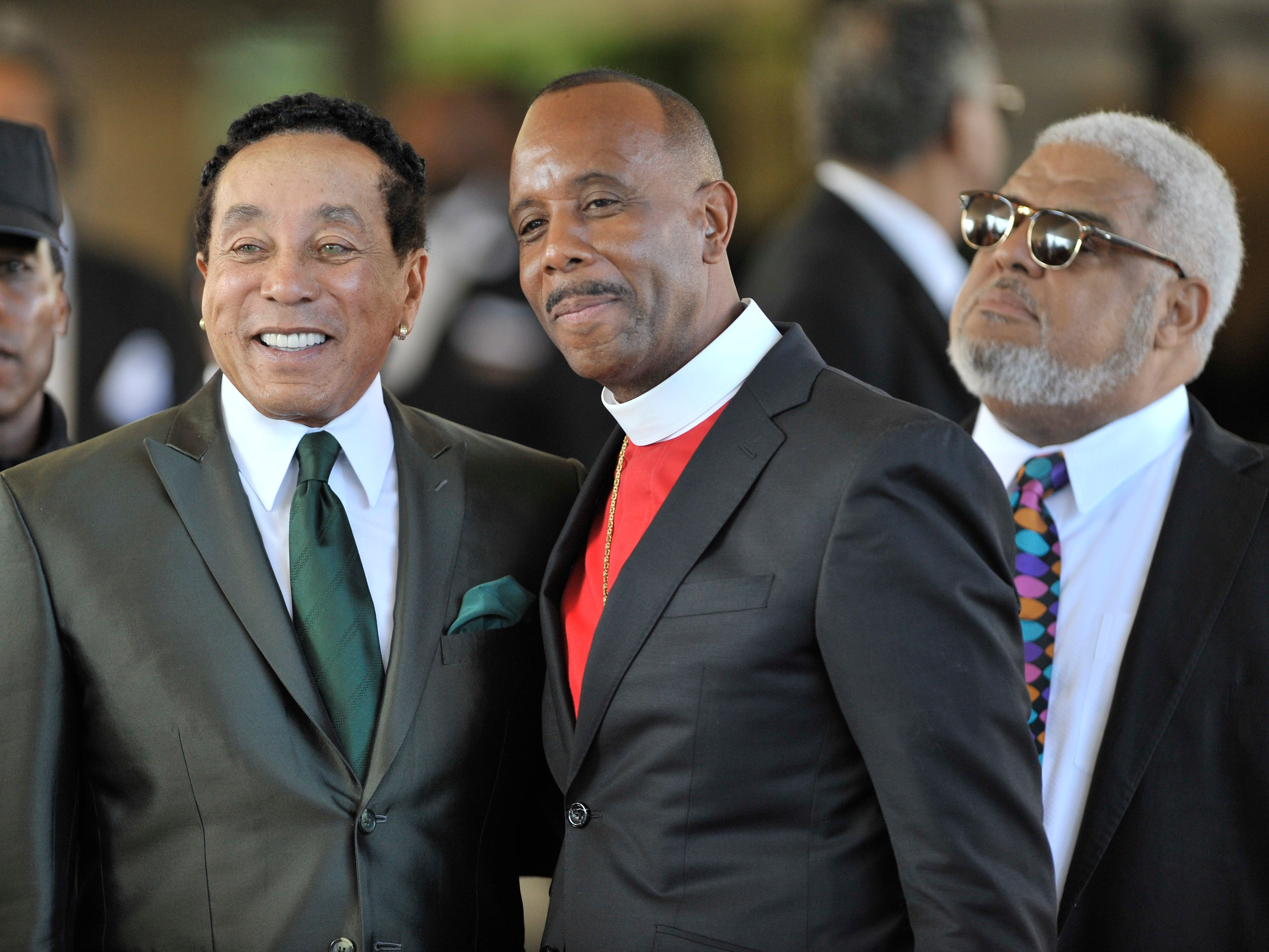 Smokey Robinson, left, and Bishop Charles Ellis III pose for the media.
