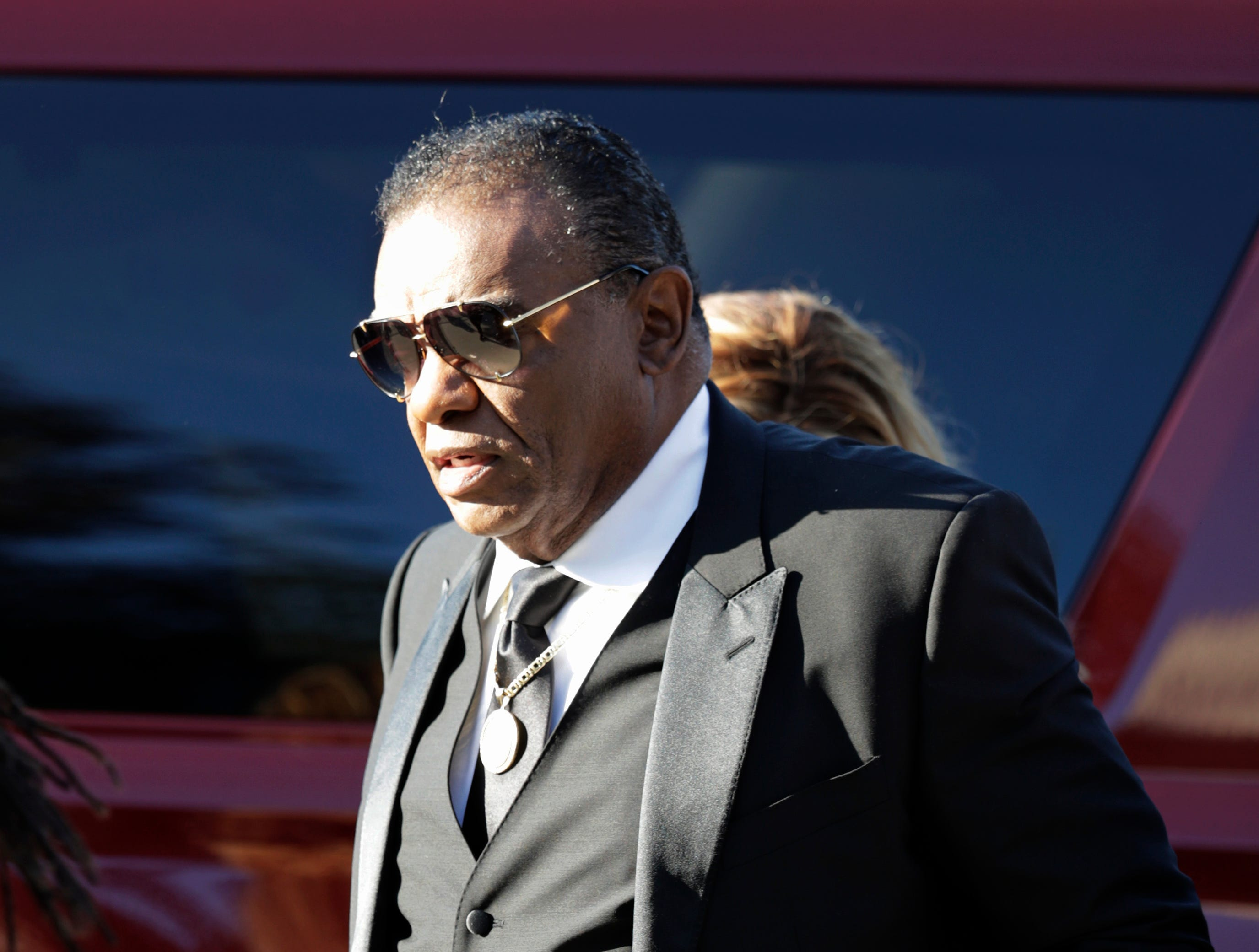 American recording artist Ron Isley arrives at Greater Grace Temple for Aretha Franklin's funeral in Detroit.