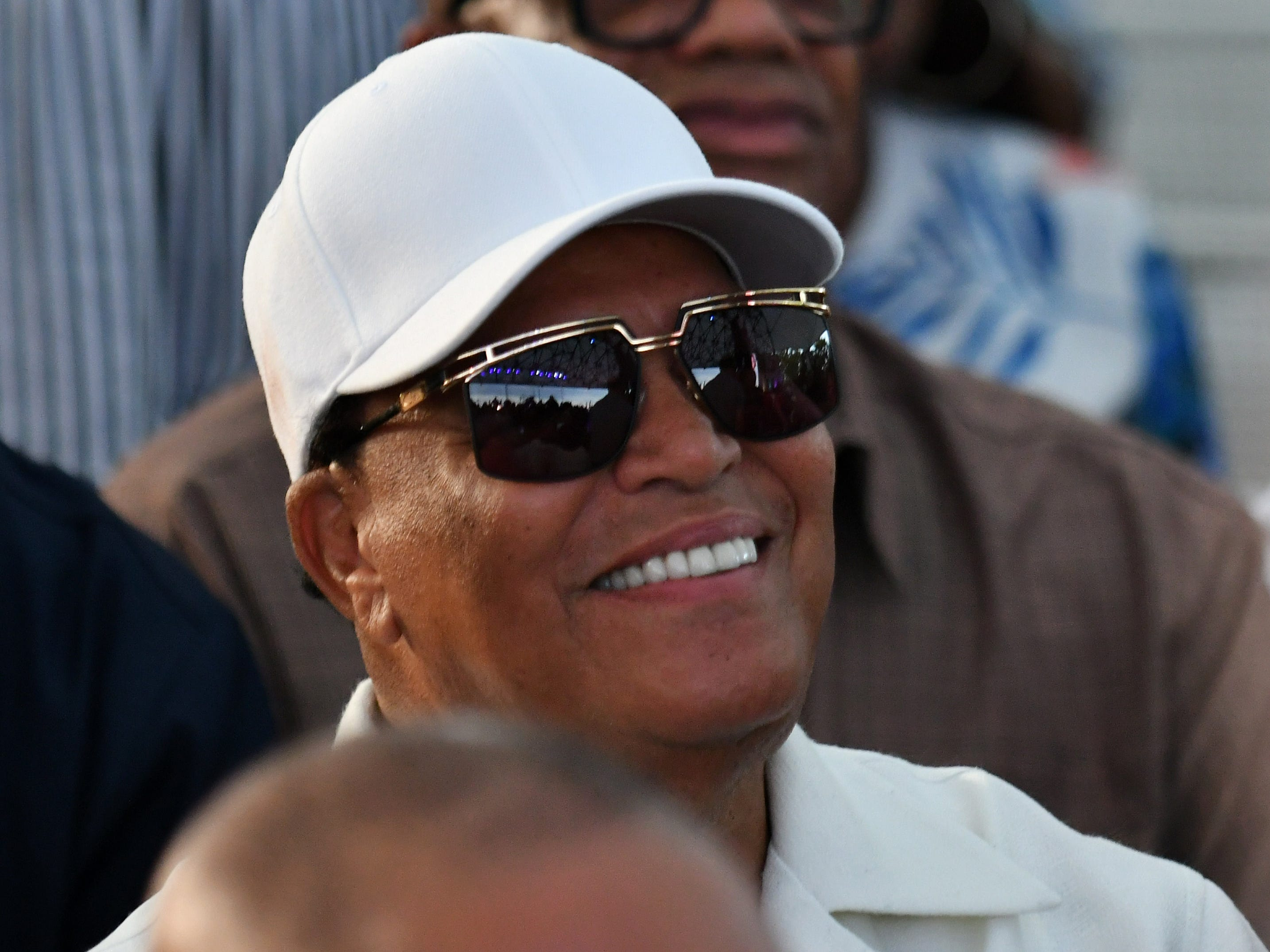 Leader of the Nation of Islam Minister Louis Farrakhan is in attendance.