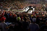 Thursday night's Trump rally drew the Ford Center's largest crowd ever, according to manager VenuWorks. The turnout: 11,500 people, with another 2,000 unable to get in.