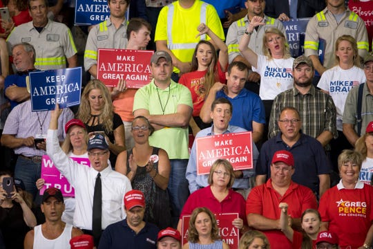 Supporters of President Donald Trump react to his speech during his campaign rally at the Ford Center in Evansville, Ind., Thursday night.