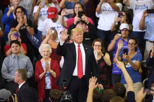 President Donald J. Trump addresses the crowd at his campaign rally at the Ford Center in Evansville, Ind., Thursday night.