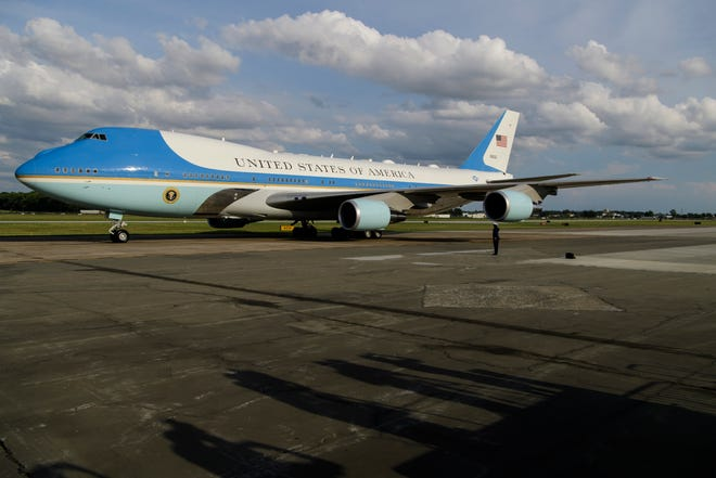 Air Force One carrying President Donald Trump lands at the Evansville Regional Airport in Evansville, Ind., on Aug. 30. A replica of the plane, the Air Force One Experience, will be traveling on a barge up Chesapeake Bay to Washington where it will be open for tours starting Oct. 9.