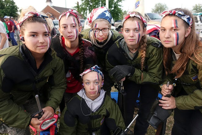 Garden State Gunners juniors all girl Rattle Battle team (first ever), from left, Sierra Loutraris, Jessica Peoples,  Dorothy Speers, Amy Flood, Victoria Wheatley, below, and Shelby Falk.