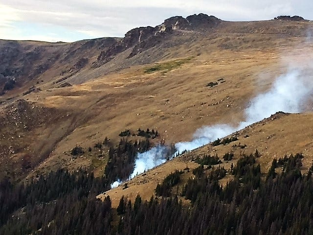 A fire is burning in the Forest Canyon area of Rocky Mountain National Park.