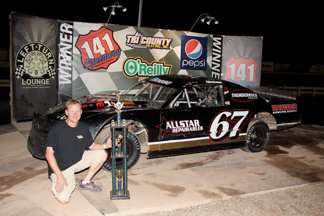Francis Creek's Gregg Haese is a force to be reckoned with on dirt and asphalt. Haese won the 141 Speedway Grand National Sportsman track title this year with the black No. 67. The second-generation driver also wheels a super late model on pavement Friday nights at Norway (Mich.) Speedway.