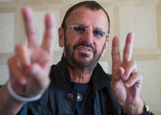 "Portrait of Ringo Starr at the New London Hotel in West Hollywood. Starr is being inducted as a solo artist into the Rock and Roll Hall of Fame by his Beatles bandmate Paul McCartney. He also has a new record out ""Postcards From Paradise"" and returns to the road for a tour."