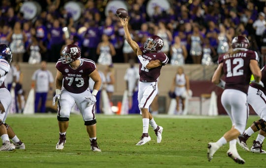 Texas A&M quarterback Kellen Mond (11) passes downfield against Northwestern State during the first half of an NCAA college football game Thursday, Aug. 30, 2018, in College Station, Texas. (AP Photo/Sam Craft)